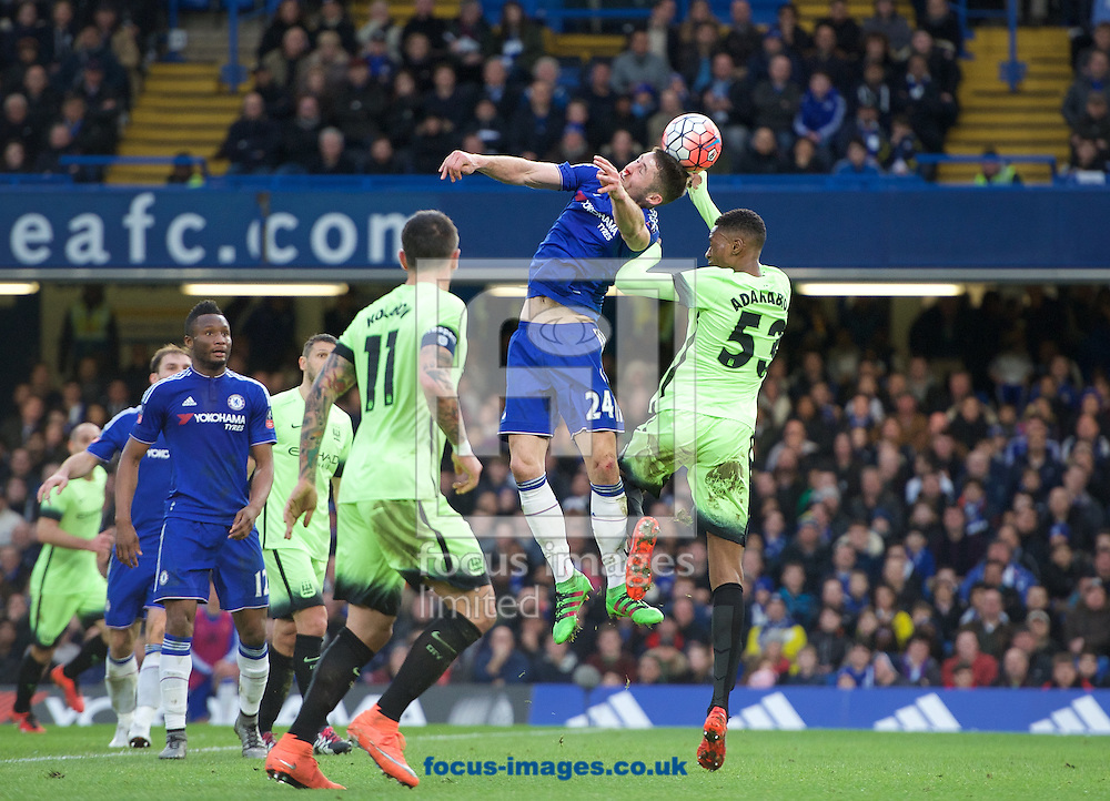 Gary Cahill of Chelsea wins the header from Tosin Adarabioyo of Manchester City during the FA Cup match at Stamford Bridge, London<br /> Picture by Alan Stanford/Focus Images Ltd +44 7915 056117<br /> 21/02/2016