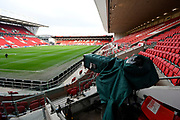General view inside Ashton Gate Stadium with a TV camera before the The FA Cup 5th round match between Bristol City and Wolverhampton Wanderers at Ashton Gate, Bristol, England on 17 February 2019.