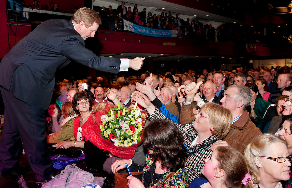 Enda Kenny returns home to castlebar in triumph to celebrate his homecoming as Taoiseach, he addressed over 2,000 followers at a 'welcome home' celebration in the Royal TF hotel and theatre. Pic: Michael Mc Laughlin