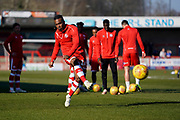 Dominic Poleon of Crawley Town warms up during the EFL Sky Bet League 2 match between Crawley Town and Macclesfield Town at The People's Pension Stadium, Crawley, England on 23 February 2019.