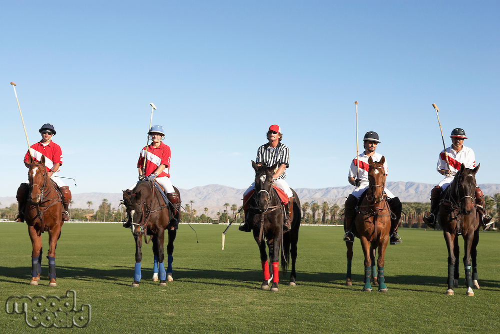 Polo Players and Referee mounted on horses on field