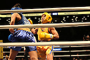April 1, 2015 - New York, NY.  Jennifer Chieng (gold) lands a punch on Janice Pugh (blue). 04/01/2015 Photograph by Maya Dangerfield/NYCity Photo Wire