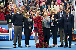 BEIJING, Oct. 7, 2017  Simona Halep (3rd L) of Romania celebrates after being presented with a bouquet in the shape of the number '1', after surging to world number one by winning her women's singles semifinal match against Jelena Ostapenko of Latvia at the China Open tennis tournament in Beijing on Oct. 7, 2017. Simona Halep won 2-0 and advanced to the final.  wll) (Credit Image: © Ju Huanzong/Xinhua via ZUMA Wire)
