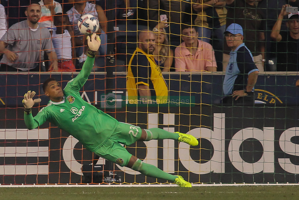 July 26, 2017 - Chester, PA, United States of America - Columbus Crew SC Keeper ZACK STEFFEN (23) attempts to make a save in the second half of a Major League Soccer match between the Philadelphia Union and Columbus Crew SC Wednesday, July. 26, 2017, at Talen Energy Stadium in Chester, PA. (Credit Image: © Saquan Stimpson via ZUMA Wire)