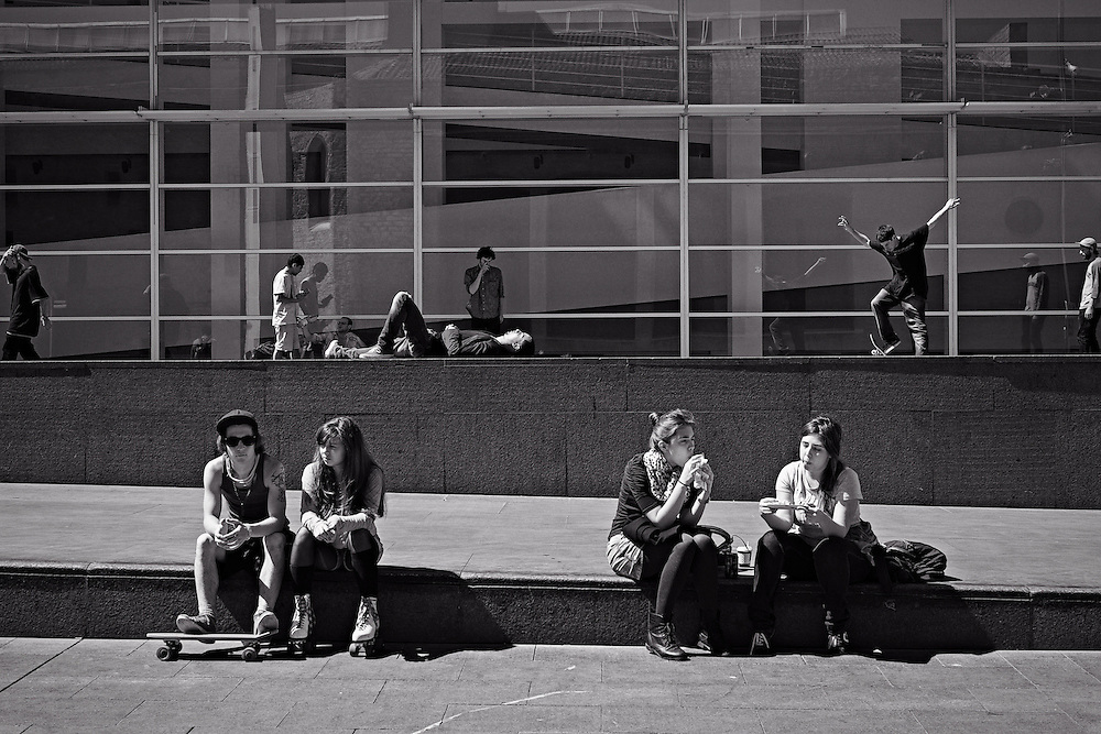 Youths outside Barcelona Museum of Contemporary Art