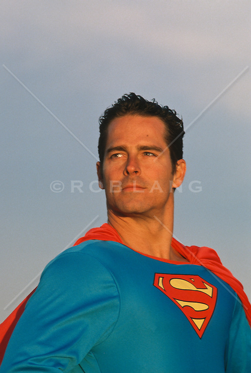 Heroic portrait of a man in a Superman costume