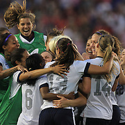 Abby Wambach, USA, celebrates her third goal with team mates after becoming the greatest goal scorer in international soccer. Wambach scored four goals during the U.S. Women's 5-0 victory over Korea Republic, friendly soccer match. The four goals brings her tally to 160 goals which eclipsed Mia Hamm's all-time goal record of 158 goals.  Red Bull Arena, Harrison, New Jersey. USA. 20th June 2013. Photo Tim Clayton