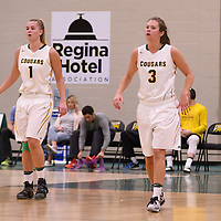 5th year forward Charlotte Kot (1) and 5th year guard Katie Polischuk (3) during the home opener  on November  4 at Centre for Kinesiology, Health and Sport. Credit: /Arthur Images