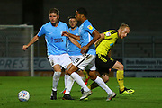 Burton Albion forward Liam Boyce (27) loses out to the Southend defenders during the EFL Sky Bet League 1 match between Burton Albion and Southend United at the Pirelli Stadium, Burton upon Trent, England on 2 October 2018.