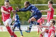23-04-2016: Voetbal: Sportlust'46 v Zwaluwen: Woerden<br /> <br /> (L-R) Freek van Driel van Sportlust '46, Dimitri Gomes Almeida van vv Zwaluwen<br /> <br /> Foto: Gertjan Kooij