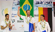 The Laser World Championships 2013 -  Standard. Mussanah Oman<br /> Robert Scheidt (BRA) 1st. Pavlos Kontides (CYP) 2nd and Philipp Buhl (GER) 3rd<br /> Credit: Lloyd Images.