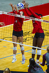 BLOOMINGTON, IL - September 28: Stef Jankiewicz and Emmy Ogogor during a college Women's volleyball match between the ISU Redbirds and the Southern Illinois Salukis on September 28 2019 at Illinois State University in Normal, IL. (Photo by Alan Look)