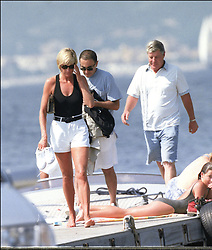 File photo of Lady Diana, Princess of Wales, with boyfriend Dodi Al Fayed spending their summer holiday in Saint-Tropez, south of France, on August 22, 1997. Princess Diana died on August 31, 1997 after suffering fatal injuries in a car crash in the Pont de l'Alma road tunnel in Paris. Her companion Dodi Fayed and driver and security guard Henri Paul were also killed in the crash. Photo by ABACAPRESS.COM  | 594950_014 Saint-Tropez France