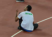 Athletics - 2017 IAAF London World Athletics Championships - Day Ten, Evening Session<br /> <br /> Mens High Jump Final <br /> <br /> Majd Eddin Ghazal (Syria) celebrates with clinched fist after securing the bronze medal at the London Stadium<br /> <br /> COLORSPORT/DANIEL BEARHAM