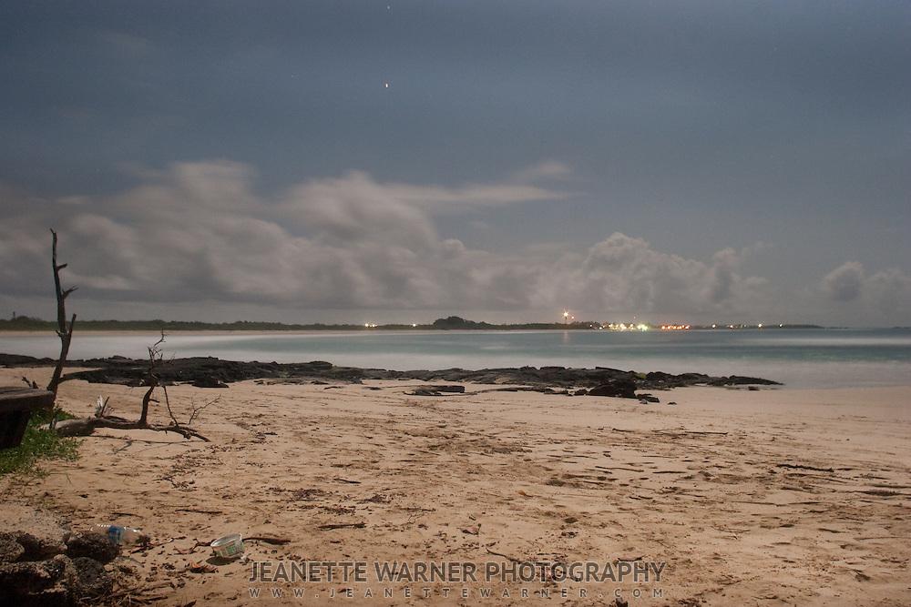 Night photo of the beach on the Island Isabela in Galapagos, Ecuador.  Puerto Villamil.