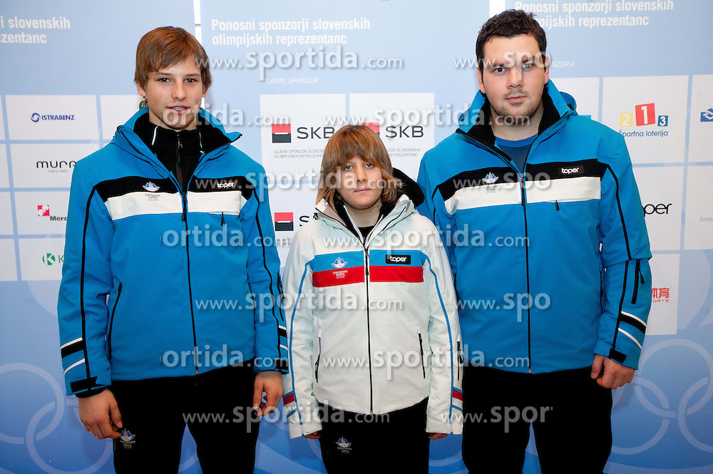 Primoz Cuvan, Ursa Pazlar and Jure Gasjek of Ice hockey team during presentation of Team Slovenia for 1st Winter Youth Olympic Games in Innsbruck, Austria from 13 to 22 January 2012, on January 4, 2012 in Bled, Slovenia. (Photo By Vid Ponikvar / Sportida.com)