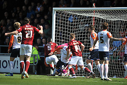 ZANDER DIAMOND FIRES IN NORTHAMPTONS FIRST GAOL, Northampton Town v Luton Town, Sky Bet League 2,  Six Fields Stadium Northampton Crowned Division Two Champions Saturday 30th April 2016. (Score 2-1)Photo: Mike Capps