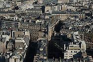 France. paris. 7th district.  the Eiffel tower, la tour Eiffel . Paris vue d'en haut