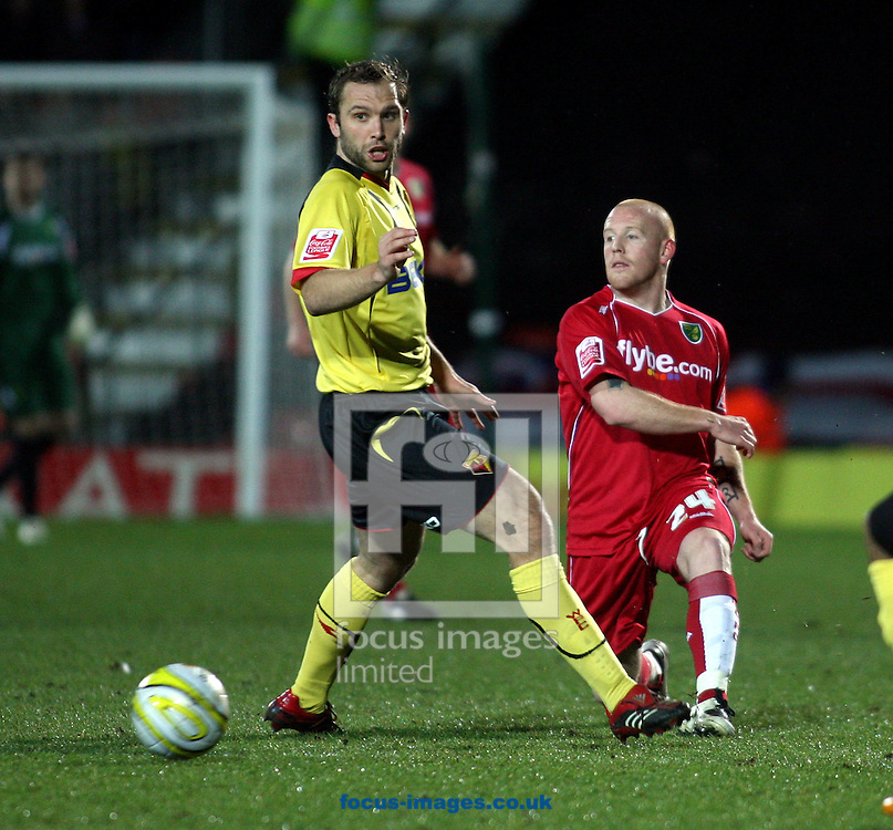 London - Tuesday, March 4th, 2008: Mat Sadler of Watford and Matthew Pattison of Norwich City during the Coca Cola Champrionship match at Vicarage Road, London. (Pic by Chris Ratcliffe/Focus Images)