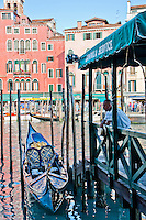 A passenger station of the Gondola Service along the Grand Canal in Venice, Italy.