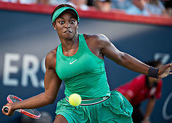 MONTREAL, Aug. 12, 2018  Sloane Stevens of the United States returns the ball to Elina Svitolina of Ukraine during the semifinal match of women's singles at the 2018 Rogers Cup in Montreal, Aug. 11, 2018. Sloane Stevens won 2-0. (Credit Image: © Andrew Soong/Xinhua via ZUMA Wire)