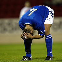 St Johnstone v Hamilton Accies....23.09.03  CIS Cup<br />Paul Bernard can't believe it as another chance goes begging<br /><br />Picture by Graeme Hart<br />Perthshire Picture Agency<br />Tel: 01738 623350 / 07990 594431