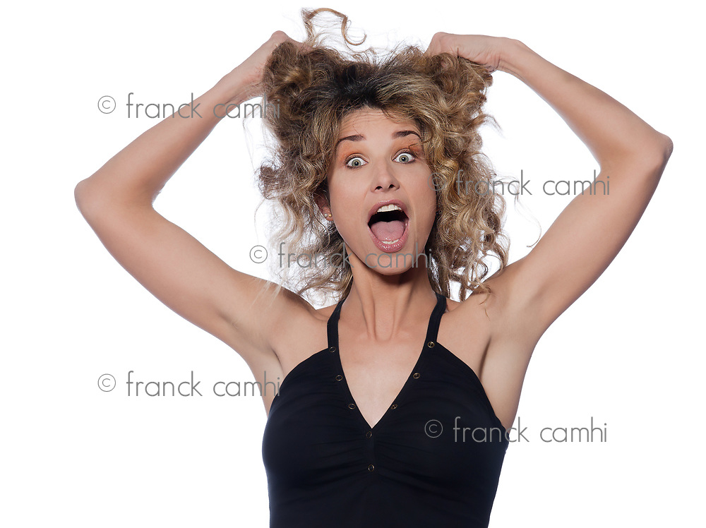 beautiful caucasian woman pulling hair portrait isolated studio on white background