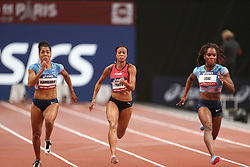 February 7, 2018 - Paris, Ile-de-France, France - From left to right :  Mujinga Kambudji of Switzerland , Tatjana Pinto of Germany, Carolle Zahi of France compete in 60m during the Athletics Indoor Meeting of Paris 2018, at AccorHotels Arena (Bercy) in Paris, France on February 7, 2018. (Credit Image: © Michel Stoupak/NurPhoto via ZUMA Press)