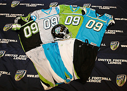 Aug 13, 2009; New York, NY, USA; The uniforms for the premiere season of the United Football League were unveiled this week.