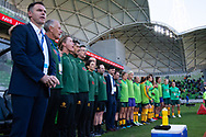 MELBOURNE, VIC - MARCH 06: Players and technical staff of Australia are seen singing the national anthem during The Cup of Nations womens soccer match between Australia and Argentina on March 06, 2019 at AAMI Park, VIC. (Photo by Speed Media/Icon Sportswire)