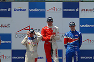 DURBAN, South Africa, Sprint race podium 1st Robert Wickens Team Canada, 2nd Oliver Jarvis Team Great Britian & 3rd Neel Jani Team Switzerland after the sprint race on Sunday held as part of the A1GP race weekend in Durban, South Africa on Sunday 24 February 2008.  Photo: SportsPics/Sportzpics