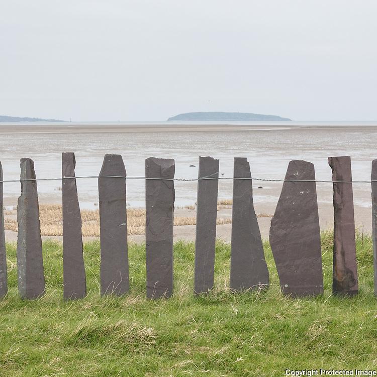 Slate fence & Puffin Island, Lavan Sands, Gwynedd.
