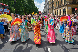 "© Licensed to London News Pictures. 18/06/2017. London, UK. Devotees celebrate the annual Rathayatra festival (""cart festival""), in central London.  Hare Krishna followers towed three huge decorated carts from Hyde Park corner to Trafalgar Square, singing and dancing all the way.  Photo credit : Stephen Chung/LNP"