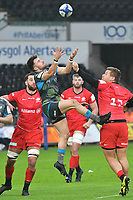 Rugby Union - 2019 / 2020 European Rugby Heineken Champions Cup - Pool Four: Ospreys vs. Saracens<br /> <br />  Luke Morgan of Ospreys &  Nick Tompkins of Saracens leaps for the ball, at the Liberty Stadium.<br /> <br /> COLORSPORT/WINSTON BYNORTH