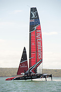 Emirates Team New Zealand practicing and testing with their AC50 on the Waitamata harbour.