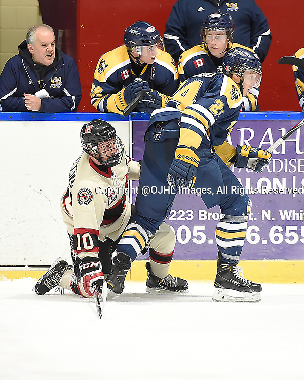 WHITBY, ON - Oct 9, 2015 : Ontario Junior Hockey League game action between Newmarket and Whitby, Christian Dedonato #10 of the Newmarket Hurricanes battles for control with Kevin Dimagno #24 of the Whitby Fury during the first period. <br /> (Photo by Andy Corneau / OJHL Images)