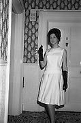 12/09/1962<br /> 09/12/1962<br /> 12 September 1962<br /> Fashion: Veronica Jaye Autumn/Winter collection 1962 fashion show at the Northbrook Hotel, Dublin. Black satin and lace dinner dress worn by Olive.