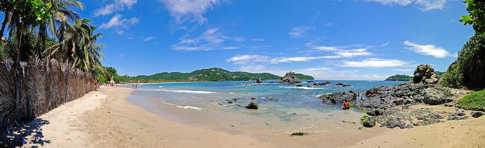 Panorma of the beach Playa La Ropa in Zihuatanejo