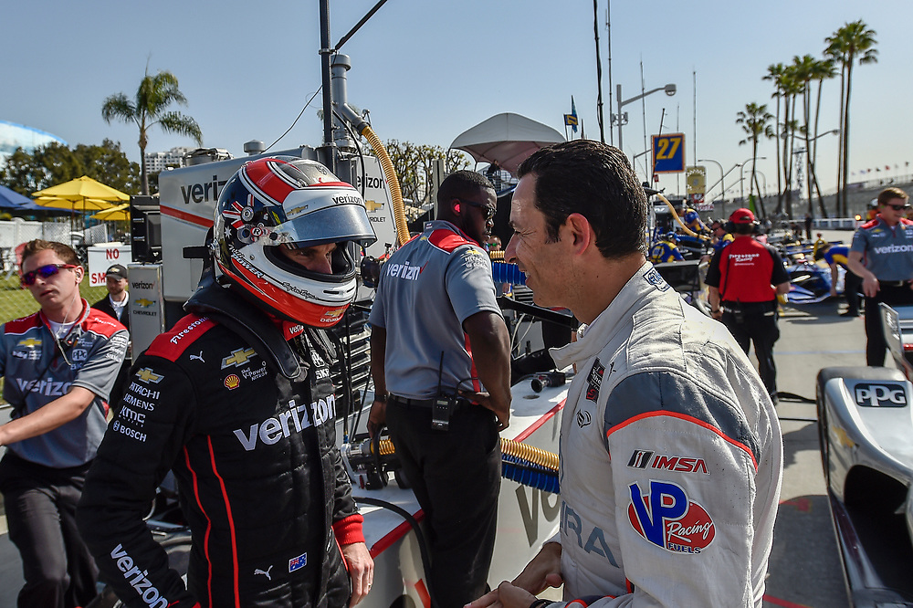 Will Power, Team Penske Chevrolet, Helio Castroneves<br /> Friday 13 April 2018<br /> Toyota Grand Prix of Long Beach<br /> Verizon IndyCar Series<br /> Streets of Long Beach, California USA<br /> World Copyright: Scott R LePage<br /> LAT Images
