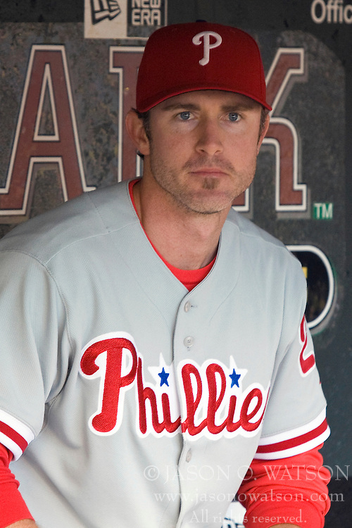 April 27, 2010; San Francisco, CA, USA;  Philadelphia Phillies second baseman Chase Utley (26) before the game against the San Francisco Giants at AT&T Park. San Francisco defeated Philadelphia 6-2.