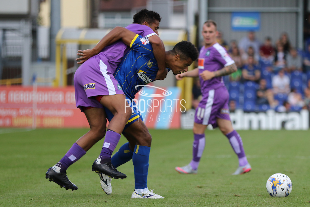 Lyle Taylor of AFC Wimbledon during the Sky Bet League 2 match between AFC Wimbledon and Plymouth Argyle at the Cherry Red Records Stadium, Kingston, England on 8 August 2015. Photo by Stuart Butcher.