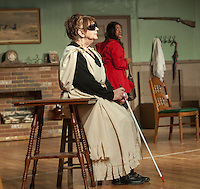 "Jane Adams/Saphaedra Renee tries to flee as she is greeted by Olive/Evelyn Taylor at the Ye Olde Wayside Inn during dress rehearsal for ""It Was a Dark and Stormy Night"" with the Streetcar Company on Tuesday evening at Laconia High School's auditorium.  (Karen Bobotas/for the Laconia Daily Sun)"