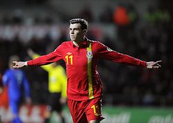 Gareth Bale (Tottenham Hotspur) of Wales celebrates scoring the opening goal for Wales - Photo mandatory by-line: Joe Meredith/JMP - Tel: Mobile: 07966 386802 26/03/2013 - SPORT - FOOTBALL -  Liberty Stadium - Swansea -  Wales V Croatia - WORLD CUP QUALIFIER