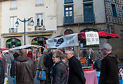 Rennes, FRANCE. General Views GV's. Rennes weekly regional market. Brittany,<br /> Vegetable's, Fruit, Flowers, Fish, Game, Meat, Cheese, local wine and cider, sold from stalls in the open and covered market  <br /> <br /> 08:58:45  Saturday  26/04/2014 <br /> <br />  [Mandatory Credit: Peter Spurrier/Intersport<br /> Images]