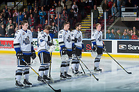 KELOWNA, CANADA - OCTOBER 4: Scott Walford #7, Kaid Oliver #34, Spencer Gerth #12, Yan Khomenko #22 and Mitchell Prowse #5 of the Victoria Royals line up against the Kelowna Rockets on October 4, 2017 at Prospera Place in Kelowna, British Columbia, Canada.  (Photo by Marissa Baecker/Shoot the Breeze)  *** Local Caption ***