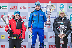 18.01.2020, Loipe Obertilliach, AUT, 50 Jahre Dolomitenlauf, Freestyle, im Bild v.l.: 2. Platz Bernhard Tritscher (AUT/42km), 1. Platz Raul Shakirzyanov (RUS/42km), 3. Platz Eugeniy Dementiev (RUS/42km) // during the 50 years Dolomitenlauf Freestyle race at Obertilliach, Austria on 2010/01/18, EXPA Pictures © 2020 PhotoCredit: EXPA/ Dominik Angere