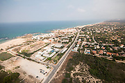 Aerial view of Mikhmoret, Israel. A moshav in central Israel. Located on the coast of the Mediterranean Sea around nine kilometres north of Netanya,