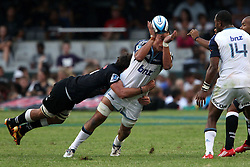 Chris Lowrey of The Blues can't keep hold of the ball during the Super15 match between The Mr Price Sharks and The Blues held at Mr Price Kings Park Stadium in Durban on the 26th February 2011..Photo By:  Ron Gaunt/SPORTZPICS