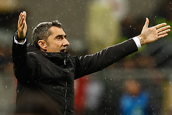 November 6, 2018 - Milan, Italy - Barcelona head coach Ernesto Valverde gestures during the Group B match of the UEFA Champions League between FC Internazionale and FC Barcelona on November 6, 2018 at San Siro Stadium in Milan, Italy. (Credit Image: © Mike Kireev/NurPhoto via ZUMA Press)