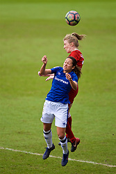 BIRKENHEAD, ENGLAND - Sunday, April 29, 2018: Liverpool's Kate Longhurst and Everton's Courtney Sweetman-Kirk during the FA Women's Super League 1 match between Liverpool FC Ladies and Everton FC Ladies at Prenton Park. (Pic by David Rawcliffe/Propaganda)